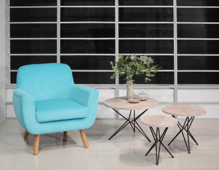 Juego de 3 mesas de centro fabricadas en madera de roble macizo y hierro estilo contemporáneo