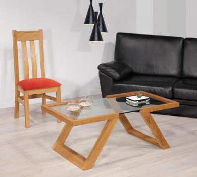 Mesa de centro Tanguy fabricada en madera de roble macizo estilo contemporáneo cristal securit