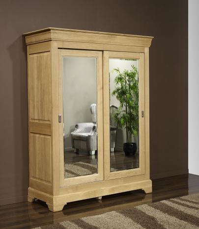 Armario de 2 puertas Jean-Olivier fabricado en madera de roble macizo al estilo de Louis Philippe PUERTAS CORREDERAS