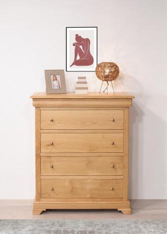 Cómoda Nathan fabricada en madera de roble de estilo Louis Philippe