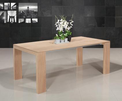 Mesa de comedor rectangular de 196x100 fabricada en madera de roble macizo en estilo contemporáneo, con 1 extensión integrada de 88 cm
