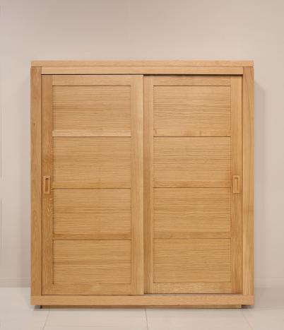Armario Julien de 2 puertas correderas fabricado en madera de Roble maciza en  línea contemporánea  Altura 160 cm