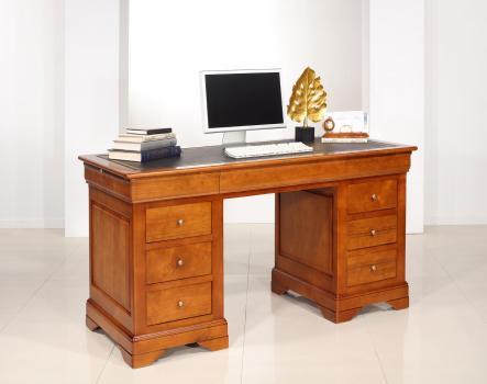 Escritorio Salomé  de 9 cajones fabricado en madera de cerezo macizo al estilo Louis Philippe Superficie de escritura de molesquín negro