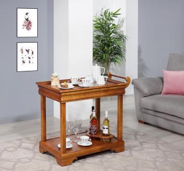 Mesa de servir fabricada en madera de cerezo macizo en estilo Louis Philippe con 1 cajón