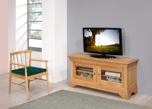 Mueble de TV Julie 16/9 de roble macizo en estilo Louis Philippe