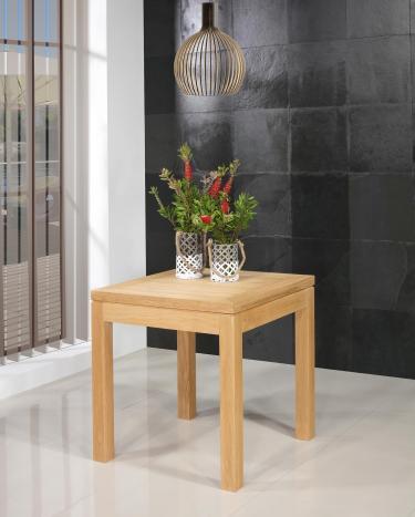 Mesa de comedor cuadrada 75x75  fabricada en madera de roble macizo de estilo contemporáneo, tablero abierto 150x75