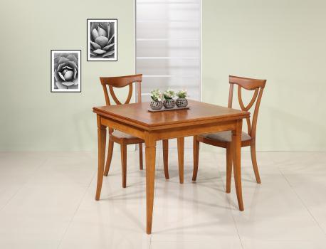 Mesa de comedor cuadrada fabricada en madera de cerezo macizo en estilo Louis Philippe