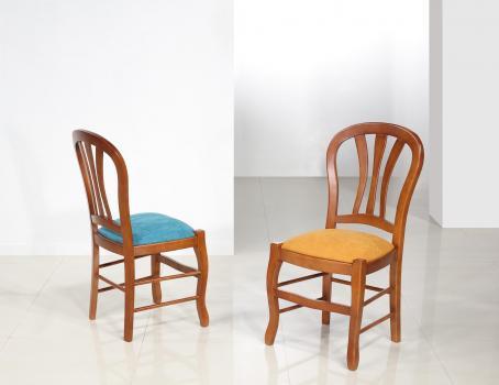 Silla Camille fabricada en madera de cerezo macizo con asiento de tela en estilo Louis Philippe