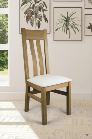 Silla Leonor fabricada en madera de Roble macizo asiento moleskine estilo contemporáneo
