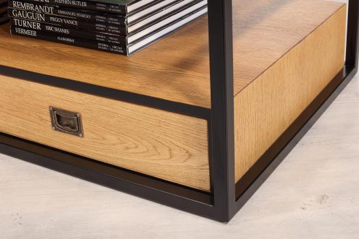 Mesa de centro Robin fabricada en madera de roble, hierro y cubierta de cristal con 2 cajones
