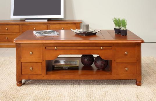 Mesa de centro Louise fabricada en madera de cerezo macizo al estilo Louis Philippe