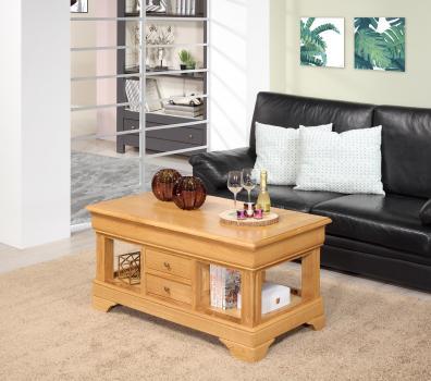 Mesa de centro Emmanuel fabricada en madera de roble macizo  al estilo Louis Philippe