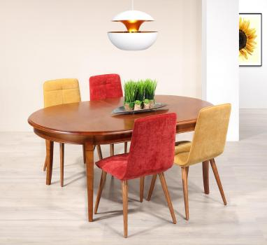 Mesa de comedor Estelle ovalada fabricada en madera maciza de cerezo en estilo Louis Philippe