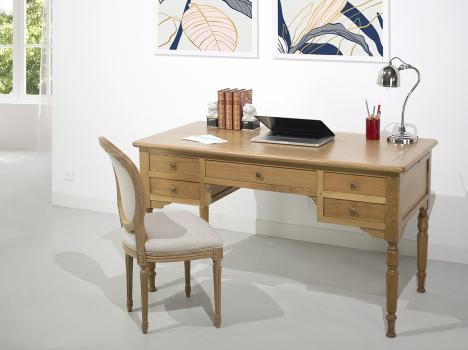 Escritorio Leo fabricado en madera de roble macizo en estilo Louis Philippe