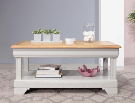Mesa de centro Eliot fabricada en madera de Roble con 1 cajón a cada lado al estilo Louis Philippe