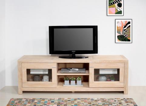 Mueble de TV Loann con 2 puertas de cristal fabricado en madera de roble macizo en estilo Contemporáneo Longitud 190 cm
