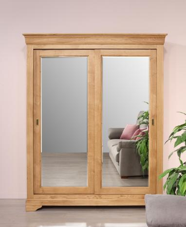 Armario Nathan de 2 puertas fabricado en madera de roble macizo con puertas corredizas espejadas al estilo Louis Philippe