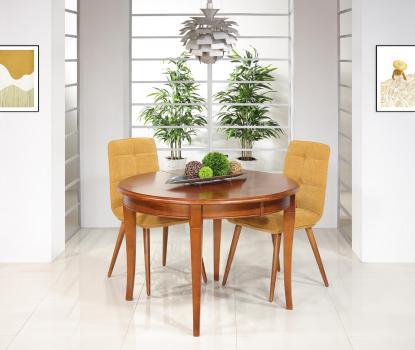 Mesa de comedor redonda Camille fabricada en madera maciza de cerezo en estilo Louis Philippe
