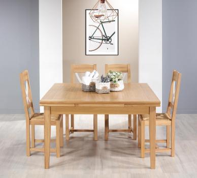 Mesa de comedor cuadrada 135x135 fabricada en madera de roble macizo con 2 extensiones de 40 cm