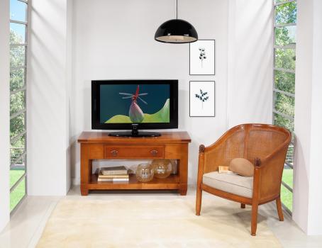 Mueble de TV Adéline fabricado en madera de cerezo macizo en estilo Rústico