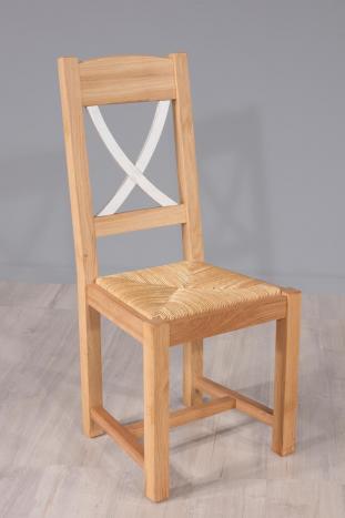 Silla Olivier fabricada en madera de roble macizo de estilo rústico