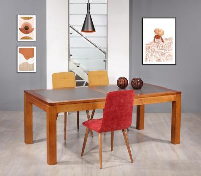 Mesa de comedor Aurore fabricada en madera maciza de cerezo cubierta de cerámico en estilo Contemporáneo