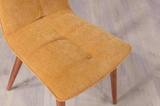Silla de tela de tapicería color Mostaza fabricada en madera de haya maciza