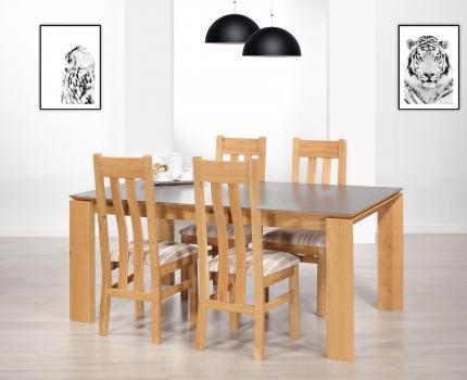 Mesa de comedor rectangular lsaac fabricada en madera de roble y cerámica de estilo Contemporáneo