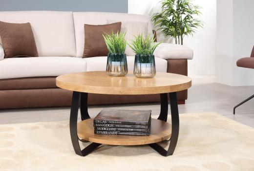 Mesa de centro redonda Léo  fabricada en madera de roble y hierro en estilo Contemporáneo
